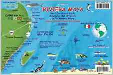 Riviera Maya Mexico Map & Reef Creatures Guide Laminated Fish Card Franko Maps