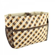 JACKI DESIGN Retro Plaid BROWN/BEIGE Cosmetic Organizer Bag - NEW!