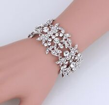 Bridal Crystal Austrian Crystal Silver Heart Cuff  Bracelet/Bangle High Quality