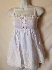 Sweet White Babydoll Top Shirred Smocked NEW NWT Red Berry S 100% Cotton