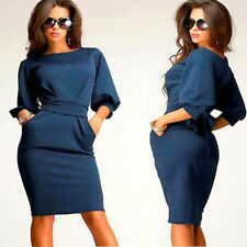 Women Dress Formal Bsiness Dress Casual Dress Slim Bodycon Dress Short Dress UK