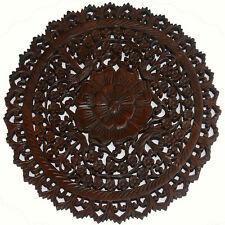 Large Round Wood Carved Floral Wall Art. Asian Home Decor Wood Wall Panels. 24""