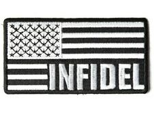 LOT OF 2 - INFIDEL AMERICAN FLAG BLACK EMBROIDERED PATCH
