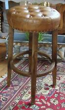 Leather & Wood Barstool / Kitchen Breakfast Stool / Counter Stool - 75cm High
