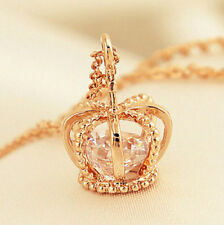 FD4372 Women Golden Plated Rhinestone Crown Cross Pendant Necklace Jewelry☆