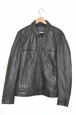 **AWESOME SAUCE** AllSaints Mens Black Military Track Leather Bomber Jacket XXL