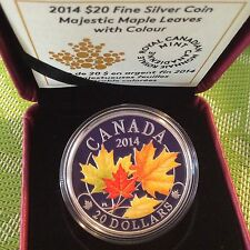 Canada 2014 $20 1oz Silver Coin - Majestic Maple Leaves Coloured 99-CENT AUCTION