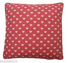 "RED LOVE HEART COTTON FLUFFY FLEECE THICK SUPERSOFT CUSHION COVER 17"" #ELGGUNS"
