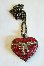 Big Sparkly Red Rhinestone Heart Necklace