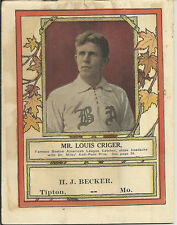 1910 LOUIS CRIGER  BOSTON RED SOX Lifesavers Dr Miles Pain Pills Book