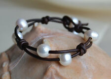 Pearl Leather Bracelet White Pearls Brown Leather Fashion Jewelry Yevga 7.25''