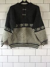 UNISEX VINTAGE RETRO AZTEC 90'S WINTER CLASP PURE WOOL NORWEGIAN JUMPER XL #5
