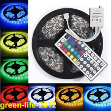 5M 5050 Waterproof RGB SMD LED Light Strip + 44 Keys IR Remote Controller DC12V