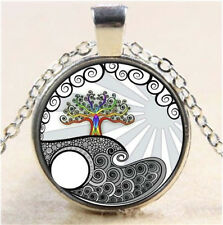 Vintage Tree of Life Cabochon Tibetan silver Glass Chain Pendant Necklace K-47