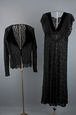 VTG 30s Black Lace Dress w/Jacket Maxi Morticia Adams Goth 1930s 2 piece set