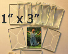 1 x 3 inch Clear Glass Rectangle Bevels 10 pack Beveled on top Flat on back