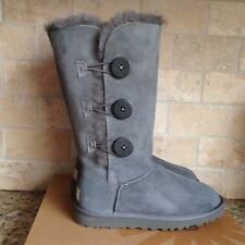 UGG BAILEY BUTTON TRIPLET TRIPLE TALL BOOTS GRAY US 10 WOMENS 1873