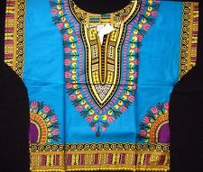 African Kids Boys Children Dashiki Mexican Poncho Top light blue Yellow one size