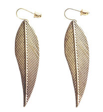 Pleasing & Magnificent Antique Gold & Patterened Leaf Droplet Earrings(Zx103)