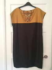 Monsoon Ladies Silk Dress With Embellished Front Size 14 New