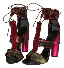 Auth NIB TOM FORD Patchwork Cage Sandals Metallic Velvet Strappy Heels sz 37