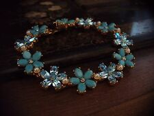Vintage Butler & Wilson Turquoise Aquamarine Crystal with Pearl Bracelet Signed