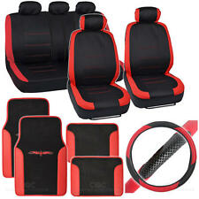 Venice 14 Pc Set - Two Tone Black / Red Car Seat Cover, Mat & Steering Cover