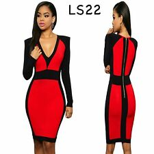 Sz 12 14 Red Black Long Sleeve Midi Sexy Formal Prom Cocktail Party Slim Dress