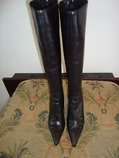 CHRISTIAN LOUBOUTIN Black Leather Pointed Toe Knee High Women Boot SZ#38