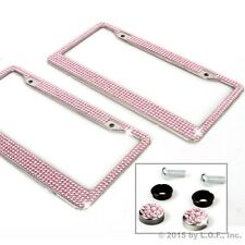 Qty 2 Pink Bling Glitter Crystal RhineStone License Plate Frame Car Truck Auto