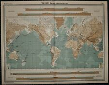 1921 LARGE MAP ~ WORLD PHYSICAL LAND HEIGHTS EUROPE AMERICA ASIA PLATEAU TIBET