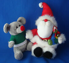 "plush puffy parachute nylon 11"" Santa Claus & whimsical 7"" grey mouse rat"