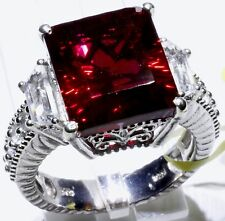 Blazing Red Quartz, White Topaz Ring Sterling Silver (Size 10) 12.15 Cts
