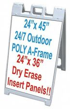 """All Weather Poly Plastic Signacade 25""""x45"""" A Frame With 2 White Dry Erase Panels"""