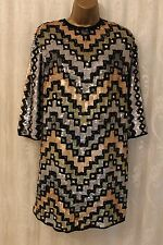 ASOS Multi Colourful Geo Sequin Mini Shift Open Back Party Dazzle Dress 16 44