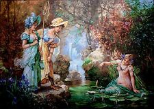 "Tapestry Gobelin Needlepoint Kit ""Nymphs"" printed canvas 19.5"" x 27.5"" cod.463"