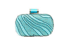 Multi Color Rhinestone Clutch Evening Bag with Tilt Knot Clasp - Turquoise