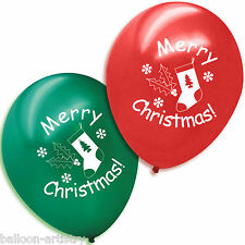 20 Merry Christmas Printed Red Green Latex Balloons STOCKING
