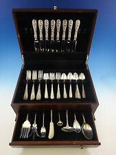 Rose by Stieff Sterling Silver Flatware Set For 8 Service 47 Pieces Repousse