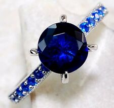 2CT Blue Sapphire 925 Solid Genuine Sterling Silver Ring Sz 7