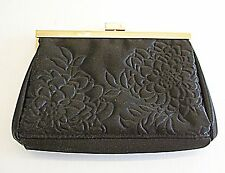 *VINTAGE EVENING BAG SMALL CLUTCH OR PURSE BLACK SATIN WITH FLOWER QUILTING GOLD