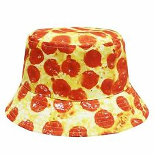 PEPPERONI CHEESE PIZZA BUCKET HAT CAP BOONIE SUMMER OUTDOOR FAST FOOD SLICE NWT