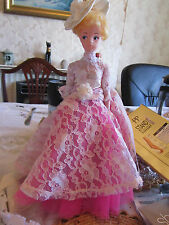 Vintage 70s Sindy with Short Hair in Vintage Lace & Chiffon Pink Dress & Hat