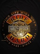 NEW METAL HARLEY DAVIDSON RIDE SIGN skull biker motorcycle shop mancave wings HD