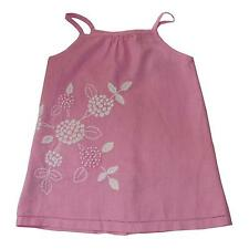 LITTLE LINENS BABY GIRL PEONY PINK 100% LINEN EMBROIDERED CAMI TOP AGE 18-24MTHS