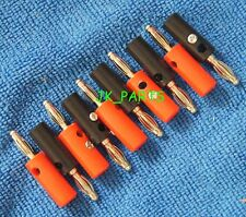 10pcs (5) Red and (5) Black 4mm Banana Plugs Audio Speaker Connectors 38mm