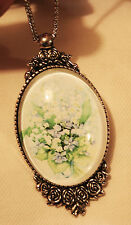 Lovely Floral Rim Silvertone Bouquet Lily of the Valley Lilacs Cameo Necklace