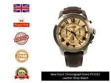 NEW MENS FOSSIL GRANT BEIGE CHRONO BROWN LEATHER WATCH  FS5152 RRP £109