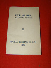 William Hill Postal Betting Rules 1972 booklet