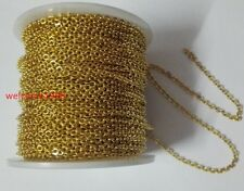 10m lot 2.2mm Gold Stainless Steel Cross Rolo Link Chain Jewelry Marking Finding